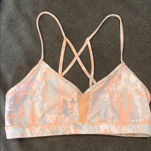 Alo yoga sports bra gray and orange medium